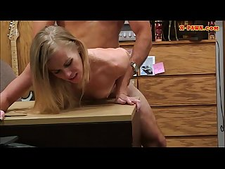 Lustful blonde bimbo sells herself for a fuck on taperself