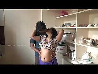 Indian mother and son Romance in kitchen