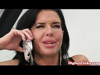 Nikki benz scissors with ava adams outdoors