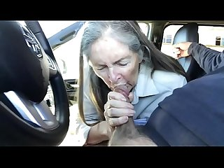 Granny blowjob in car cum