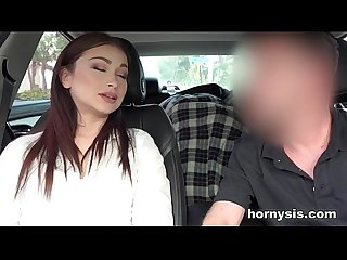Sister gives Blowjob to Brother in car