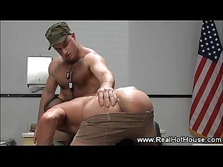 Military males make out and taste the flavor of ass