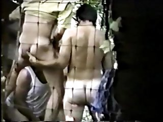 3 guys fucking in the woods