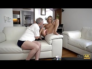 OLD4K. Old daddy fingers wife's twat to prepare it for upcoming sex