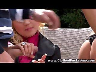 Clothed glamour threesome blowjob fucking