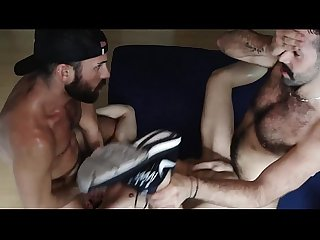An amazing threesome fucking in a room bareback
