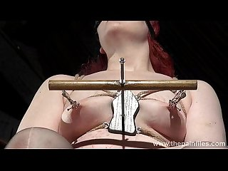 Extreme Lesbian Bdsm and hardcore lezdom tit tortures of Chubby Redhead slaveslu
