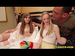 Tranny trio with tgirl pussypounding