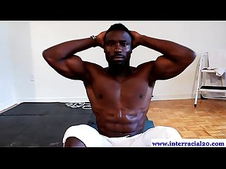 Ripped ebony dude works with tugging