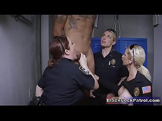 Black guy Busted for no reason fucked by white milf cops