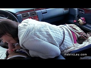 Hairy pussy russian babe fucks in the car in public