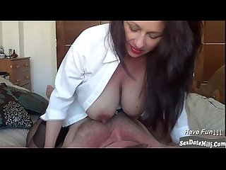 Clactating milf riding her hubby