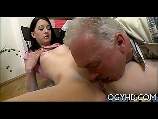 Sexy young chick screwed by old stud