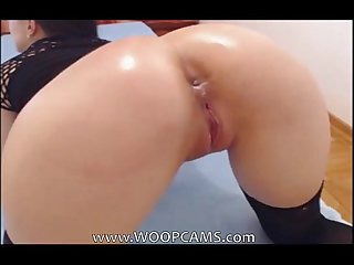 Showing and dildoing her perfect ass with red dildo woopcams.com