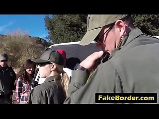 Young sluts are having nasty outdoor threesome by the border