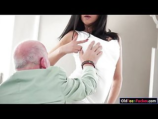 Super hot teen Coco de mal blows and rides an old guys dick
