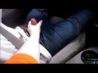 Wife give husband handjob while Driving making him cum