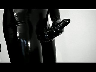 Trying on my new tight comma shiny latex pants and gloves