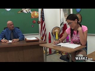 Horny schoolgirl fucks her teacher after class