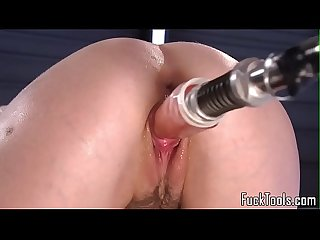 Machine babe climaxes while riding sybian