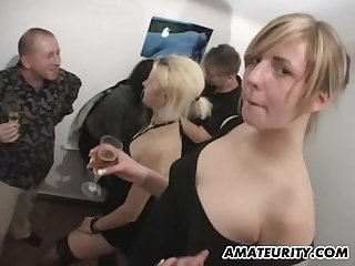 Amateur gangbang with hot chicks and facial shots
