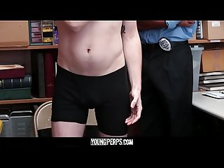 YoungPerps - Young blonde punk gets busted for stealing and fucked by the guard