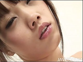 Ageha kinashita in see through lingerie toys her oiled pussy until she cums hard
