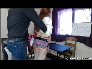 Redhead student in miniskirt fucks her teacher roleplay