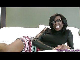 Ebony teen face jizzed