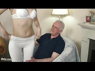Young blonde hardcore blowjob and deep tight pussy fucking with grandpa in old young porn video