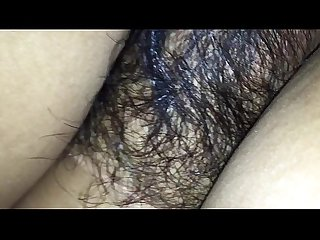 Hairy wife in black bra tight asshole enjoying doggy style with husband friend