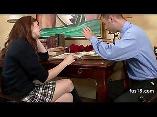 Schoolgirl fucked on the couch