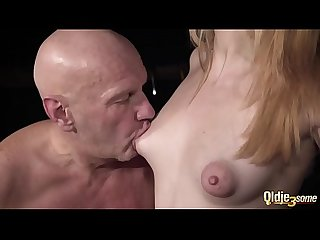 Bald man gets his dick sucked by lovely young amateurs in hot threesome
