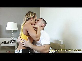 Blonde teen with amzing body seduces personal trainer