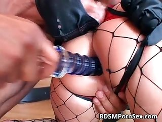 Magnificent blonde sex slave satisfies