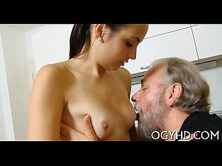 Horny young babe screwed by old boy
