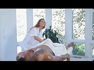 Perky teen masseuse blows bbc