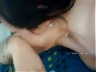Indian girl giving blowjob and getting facial