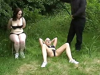 Outdoor pussy whipping to tears