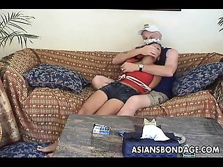 Asian teen tied up and groped by the old gangsta
