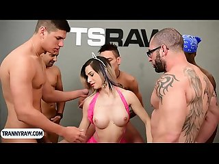 Latina tranny bitch gets gangbang fucked by a bunch of guys