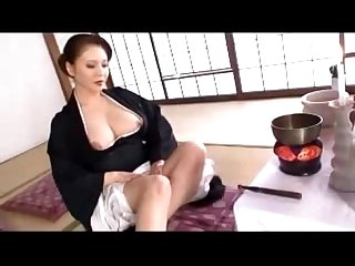 Busty mature lady in black kimono masturbating rubbing fingering herself