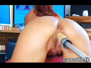 Webcam girl with fucking machine and squirt
