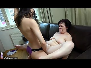 Oldnanny granny and Sexy teen playing with strapon comma granny masturbate with toy
