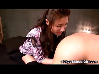 Japanese asian teen gives rimjob and fingers ass