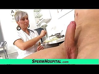 Medical exam and tugjob feat european uniform milf beate