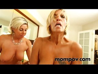 Two hot milfs gets fucked in hotel by young cock