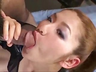 Hot Asian slut with nice tits sucking cock