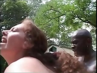 White bitch sucking off a black worker