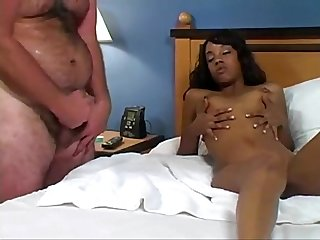 Ebony beauty teases fat guy